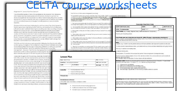 English Teaching Worksheets CELTA Course - Celta lesson plan template