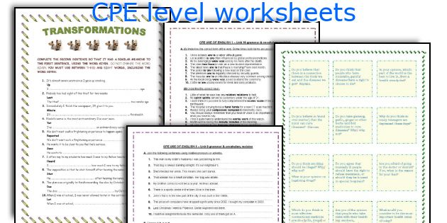 CPE level worksheets