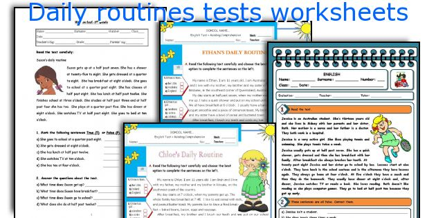 Daily routines tests worksheets