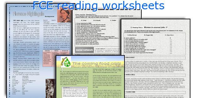 FCE reading worksheets