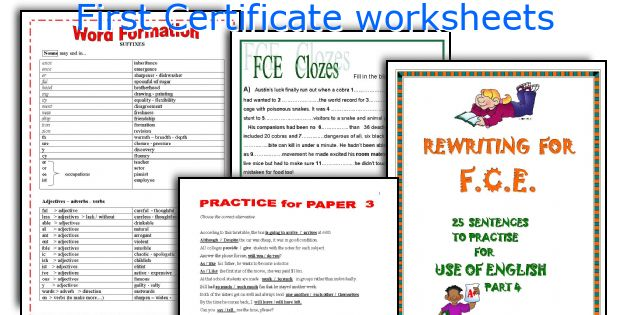 First Certificate worksheets