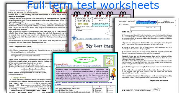 Full term test worksheets