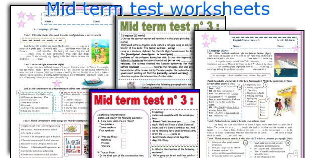 Mid term test worksheets