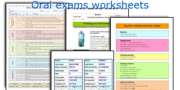 Oral exams worksheets