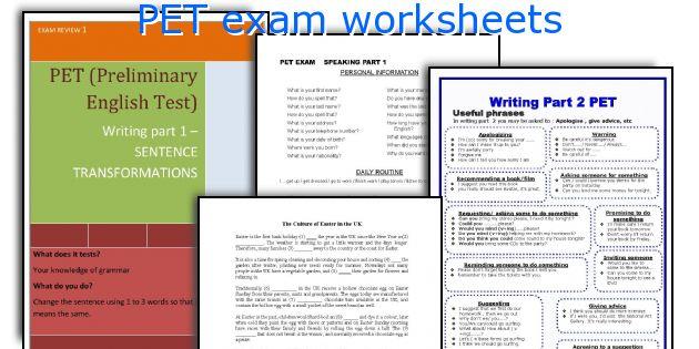 PET exam worksheets