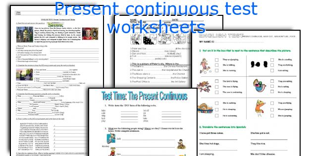 Present continuous test worksheets