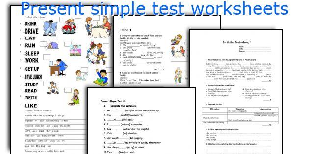 Present simple test worksheets
