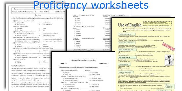 Proficiency worksheets