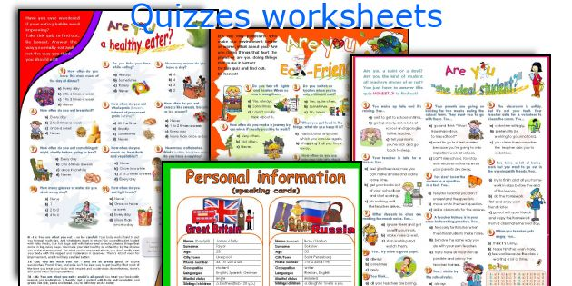 Quizzes worksheets