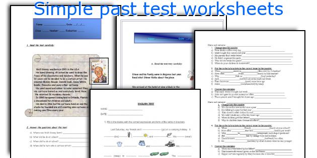Simple past test worksheets