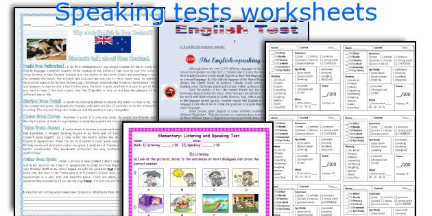 Speaking tests worksheets