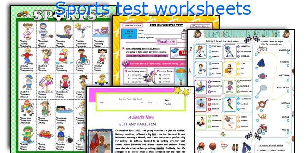 Sports test worksheets
