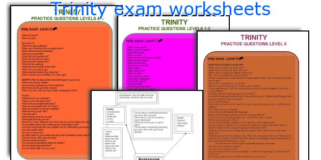 Trinity exam worksheets