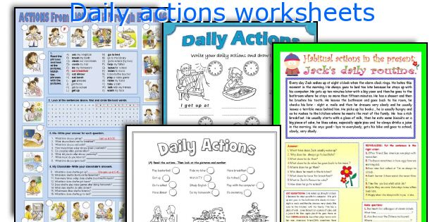 Daily actions worksheets
