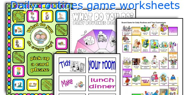 Daily routines game worksheets