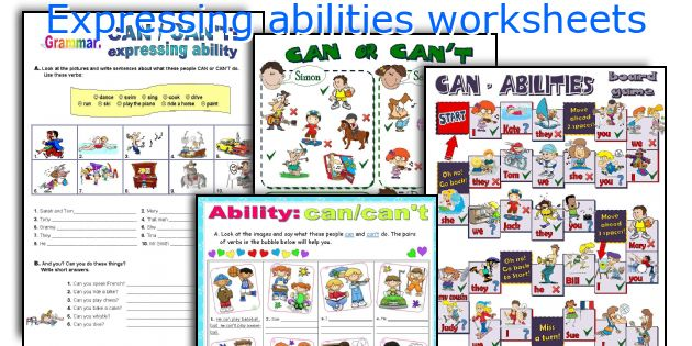 Expressing abilities worksheets