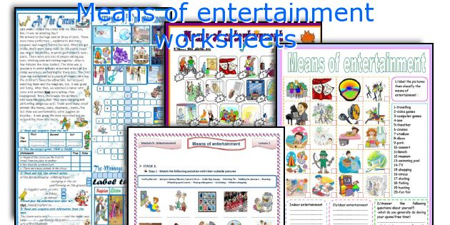 Means of entertainment worksheets