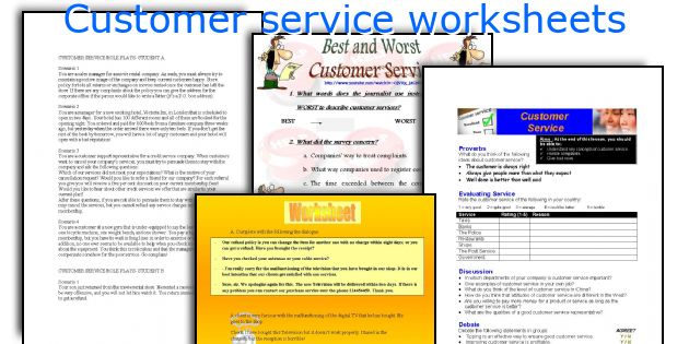 English teaching worksheets Customer service – Customer Service Worksheets