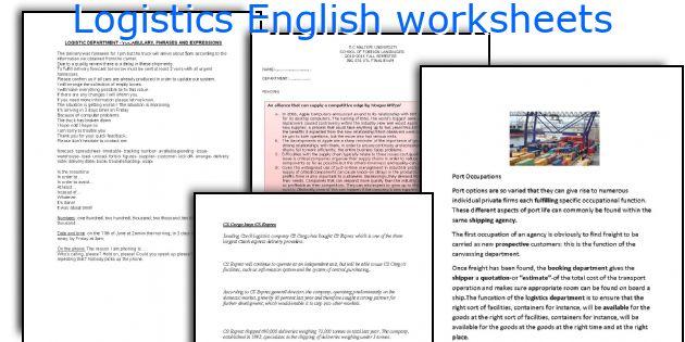 Logistics English worksheets