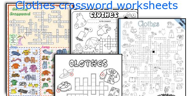 English teaching worksheets: Clothes crossword