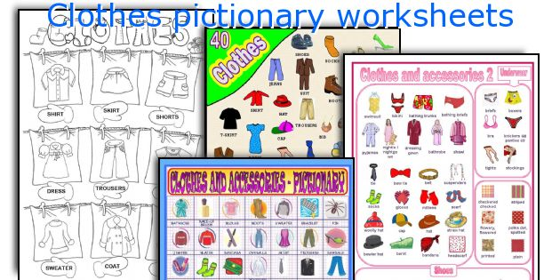 Clothes pictionary worksheets
