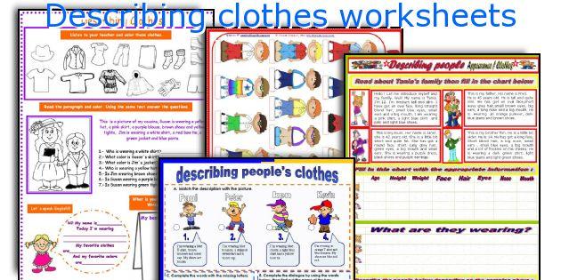 Describing Clothes Worksheets