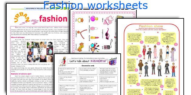 Fashion worksheets