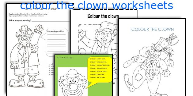 English teaching worksheets: colour the clown