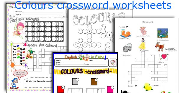 Colours crossword worksheets
