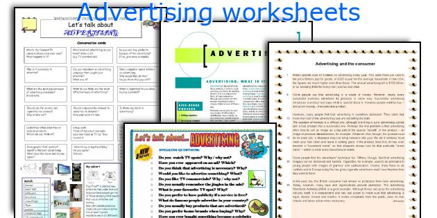 Advertising worksheets