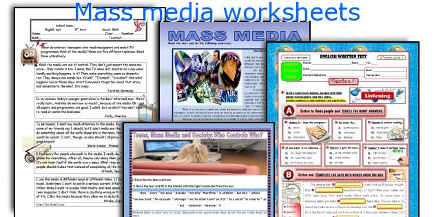 Mass media worksheets