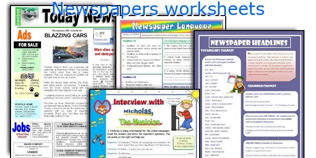 Newspapers worksheets
