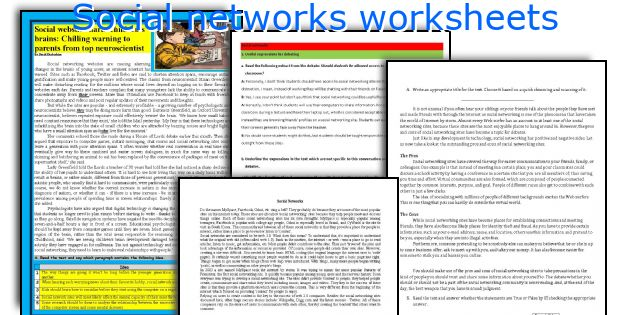 Social networks worksheets