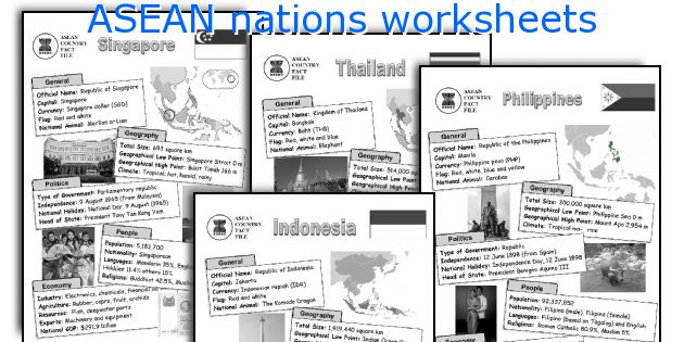 ASEAN nations worksheets