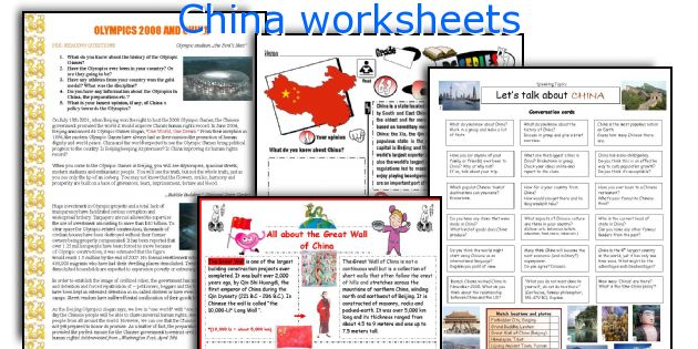 China worksheets