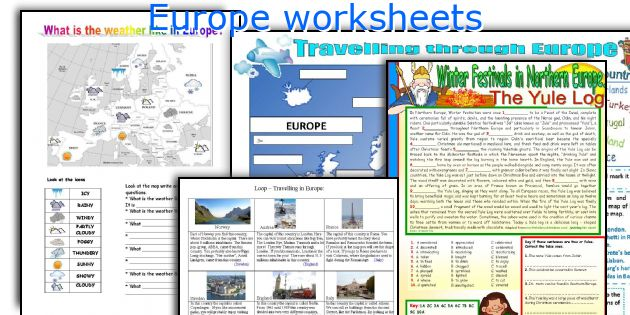Europe worksheets