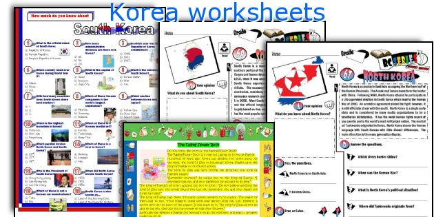 Korea worksheets