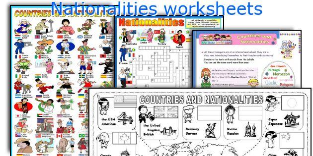 Nationalities worksheets