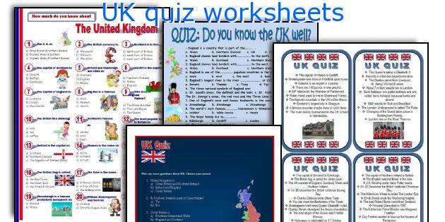 UK quiz worksheets