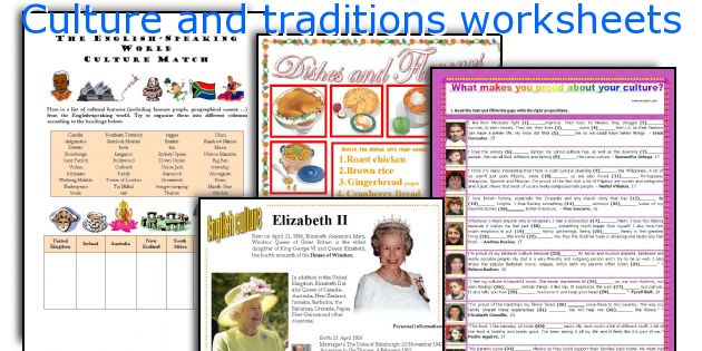 Culture and traditions worksheets
