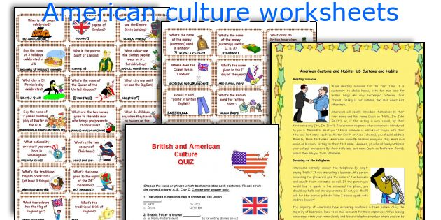 american culture worksheets. Black Bedroom Furniture Sets. Home Design Ideas