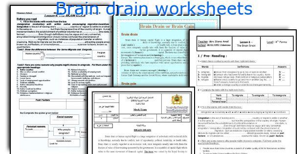 Brain drain worksheets