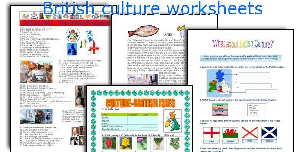 British culture worksheets
