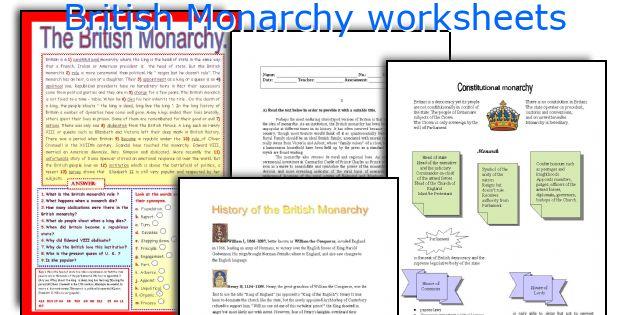 British Monarchy worksheets