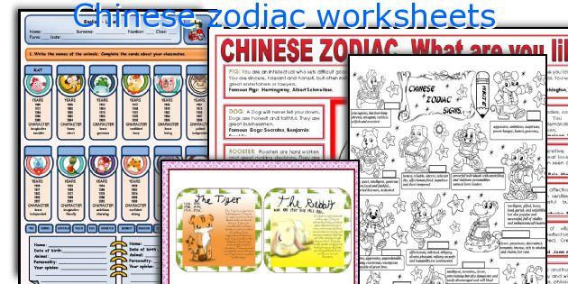 Chinese zodiac worksheets