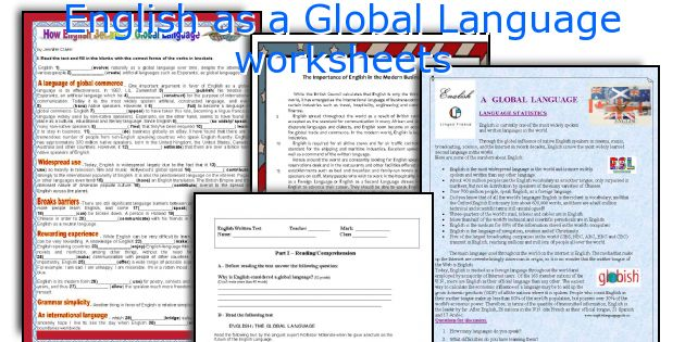English as a Global Language worksheets