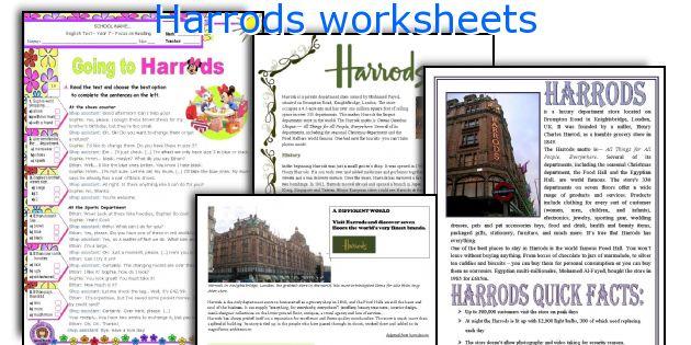 Harrods worksheets