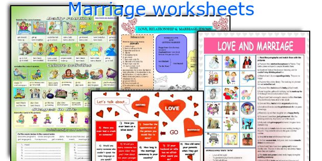 Marriage worksheets