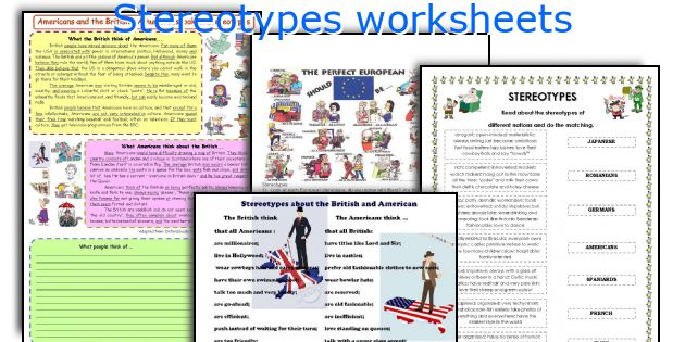 Stereotypes worksheets