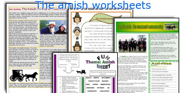 The amish worksheets